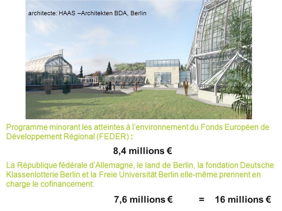 Programme minorant les atteintes à lenvironnement du Fonds Européen de Développement Régional (FEDER) : 8,4 millions La République fédérale dAllemagne