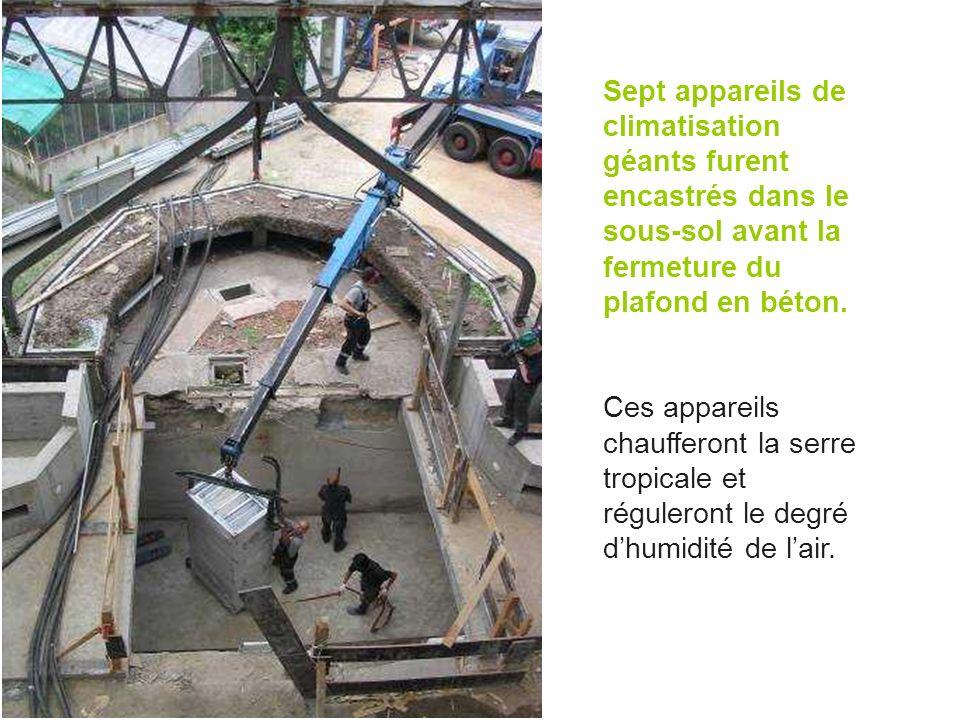Sept appareils de climatisation géants furent encastrés dans le sous-sol avant la fermeture du plafond en béton. Ces appareils chaufferont la serre tr