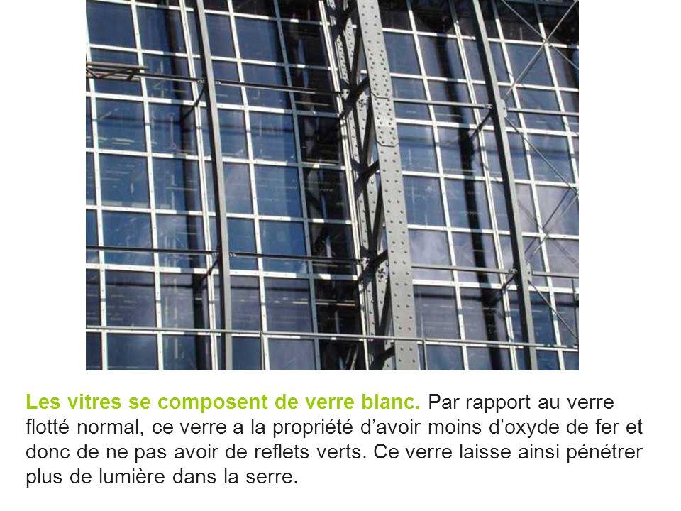 Les vitres se composent de verre blanc. Par rapport au verre flotté normal, ce verre a la propriété davoir moins doxyde de fer et donc de ne pas avoir
