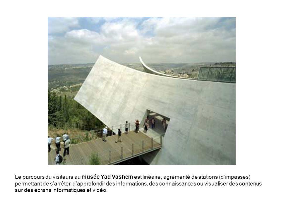 Le parcours du visiteurs au musée Yad Vashem est linéaire, agrémenté de stations (dimpasses) permettant de sarrêter, dapprofondir des informations, de