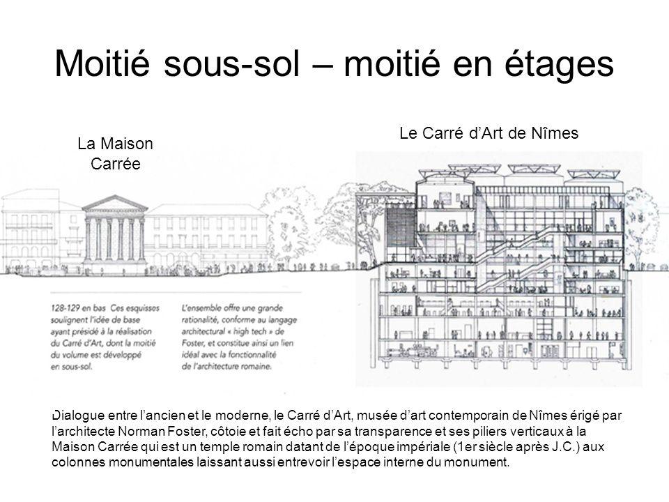 Moitié sous-sol – moitié en étages La Maison Carrée Le Carré dArt de Nîmes Dialogue entre lancien et le moderne, le Carré dArt, musée dart contemporai