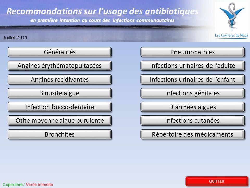 REVENIR AU SOMMAIRE REVENIR AU SOMMAIRE REVENIR AU SOMMAIRE REVENIR AU SOMMAIRE QUITTER Gastro-entérite : - Gastro-entérite dorigine virale : Pas dantibiotique - Gastro-entérite bactérienne (persistance des symptômes plus de 3 jours) : - Ciprofloxacine PO 500 mg x 2/j.