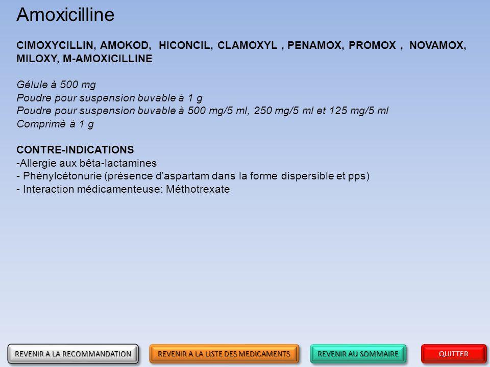 REVENIR AU SOMMAIRE REVENIR AU SOMMAIRE REVENIR AU SOMMAIRE REVENIR AU SOMMAIRE QUITTER Amoxicilline CIMOXYCILLIN, AMOKOD, HICONCIL, CLAMOXYL, PENAMOX