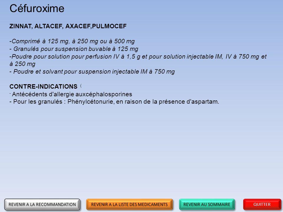REVENIR AU SOMMAIRE REVENIR AU SOMMAIRE REVENIR AU SOMMAIRE REVENIR AU SOMMAIRE QUITTER Céfuroxime ZINNAT, ALTACEF, AXACEF,PULMOCEF -Comprimé à 125 mg