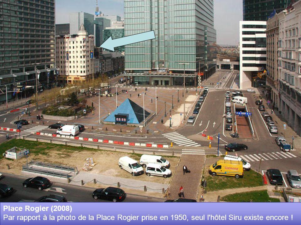 Place Rogier et Gare du Nord (28 février 1950) Inaugurée en 1846, cette gare du Nord, première formule, ne survivra pas à la jonction. A l'arrière pla