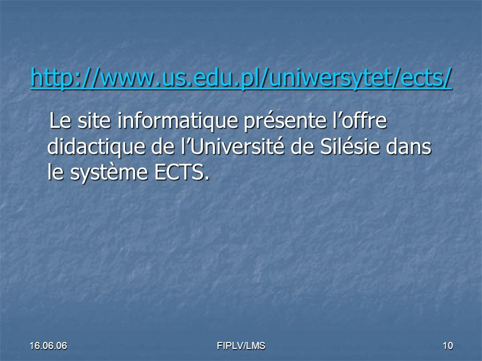 16.06.06FIPLV/LMS9 FRANTICE : http://frantice.interklasa.pl FRANTICE : http://frantice.interklasa.pl http://frantice.interklasa.pl Ce nouveau service propose: - un service d actualités - concours, informations générales, colloques - des ressources : plus de 220 sites francophones commentés et classés par thème et par niveau (cadre européen commun de référence) - des forums thématiques : pour interroger des experts (possibilités de formation au français en Pologne, Certifications, Etudes en France.)