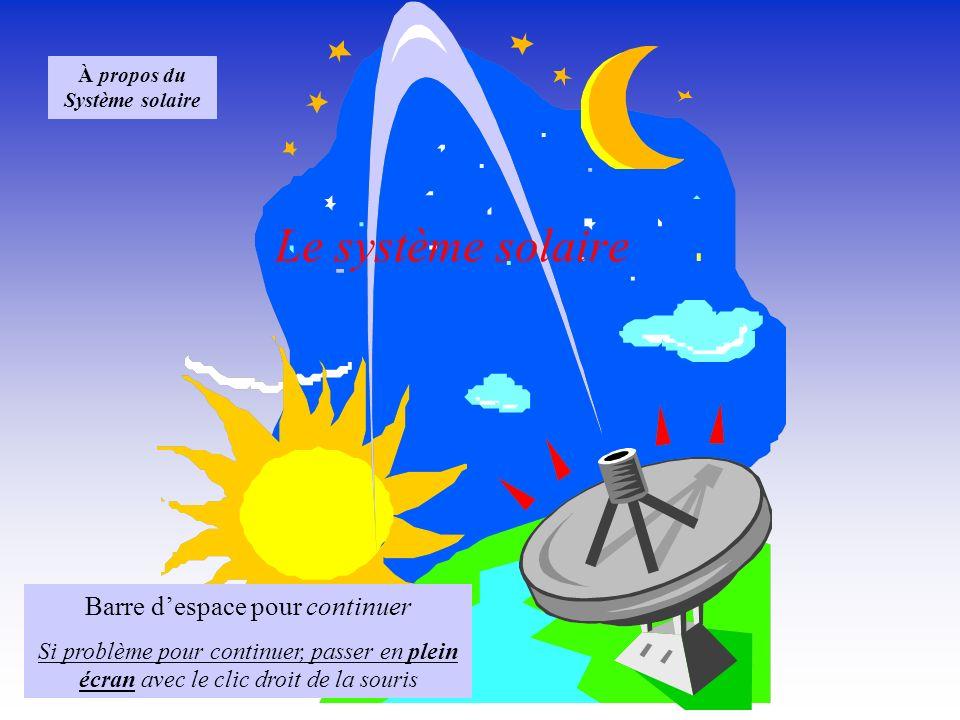 Le système solaire Barre despace pour continuer Si problème pour continuer, passer en plein écran avec le clic droit de la souris À propos du Système