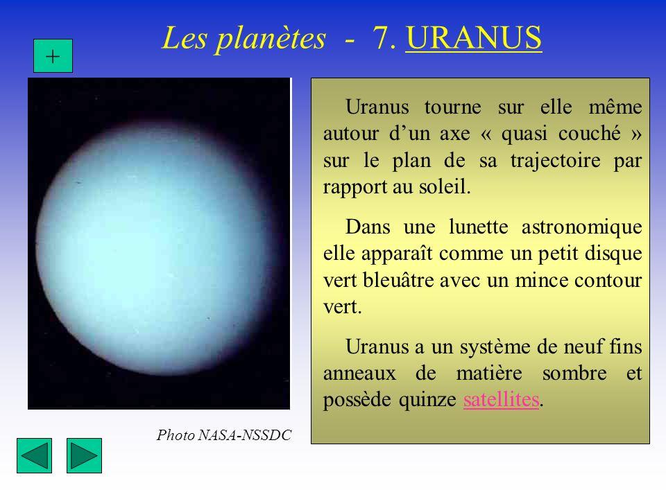 Les planètes - 7. URANUS Uranus tourne sur elle même autour dun axe « quasi couché » sur le plan de sa trajectoire par rapport au soleil. Dans une lun