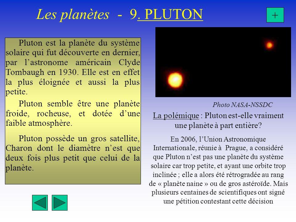 Les planètes - 9. PLUTON + Photo NASA-NSSDC La polémique : Pluton est-elle vraiment une planète à part entière? En 2006, lUnion Astronomique Internati