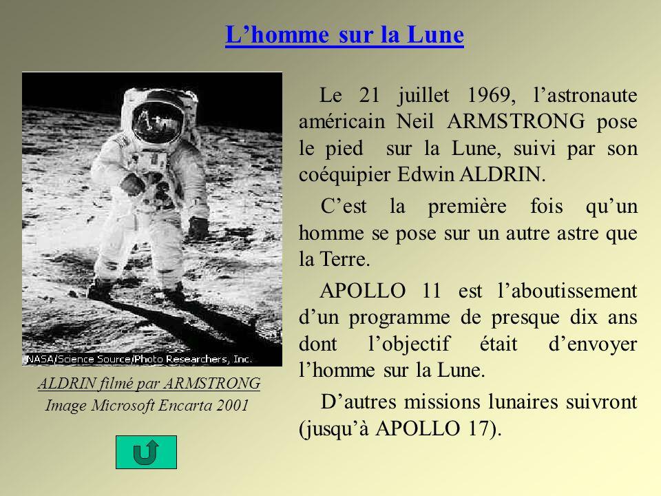 Lhomme sur la Lune Le 21 juillet 1969, lastronaute américain Neil ARMSTRONG pose le pied sur la Lune, suivi par son coéquipier Edwin ALDRIN. Cest la p