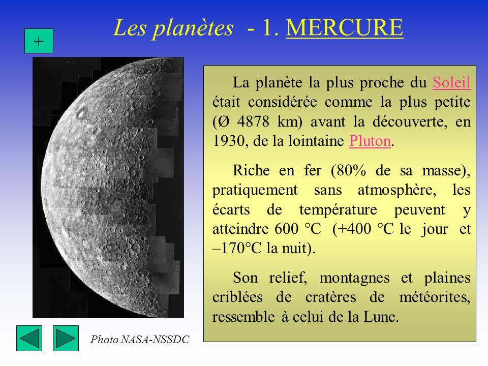 Les planètes - 1. MERCURE La planète la plus proche du Soleil était considérée comme la plus petite (Ø 4878 km) avant la découverte, en 1930, de la lo