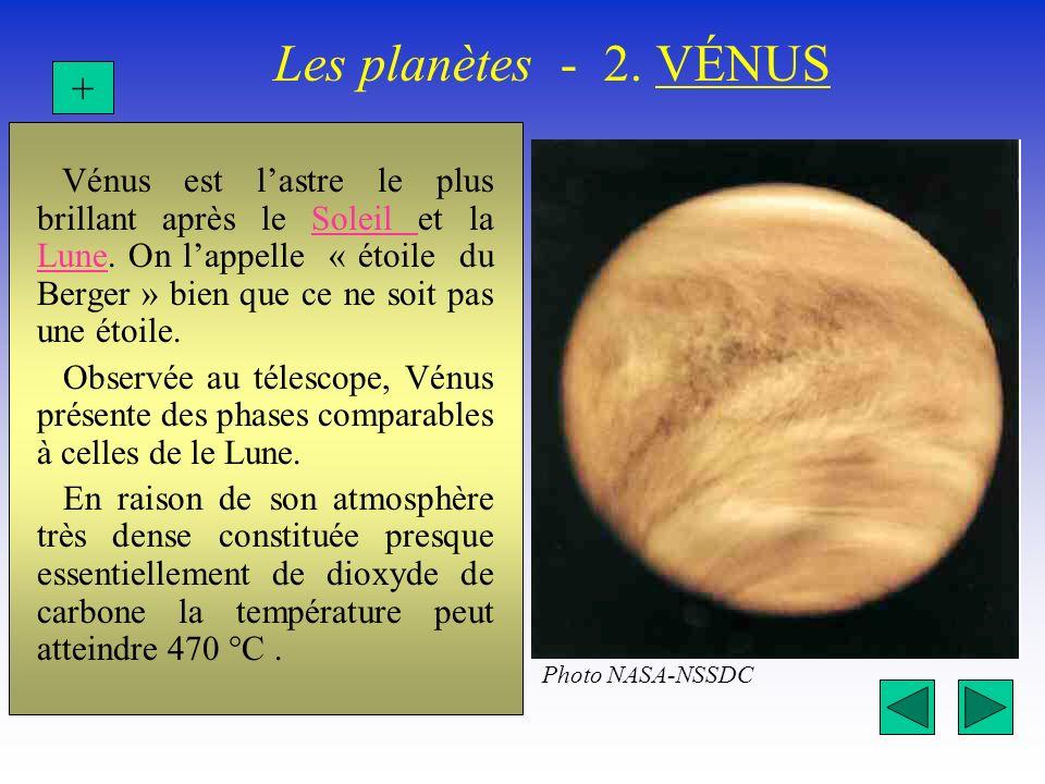 Les planètes - 2. VÉNUS + Vénus est lastre le plus brillant après le Soleil et la Lune. On lappelle « étoile du Berger » bien que ce ne soit pas une é