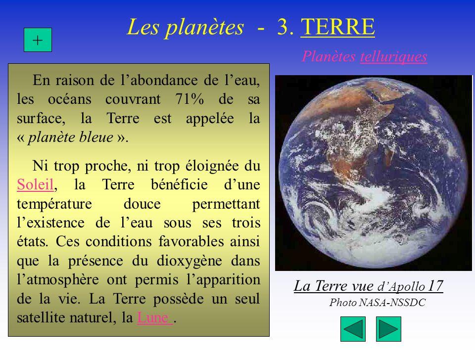 Les planètes - 3. TERRE En raison de labondance de leau, les océans couvrant 71% de sa surface, la Terre est appelée la « planète bleue ». Ni trop pro