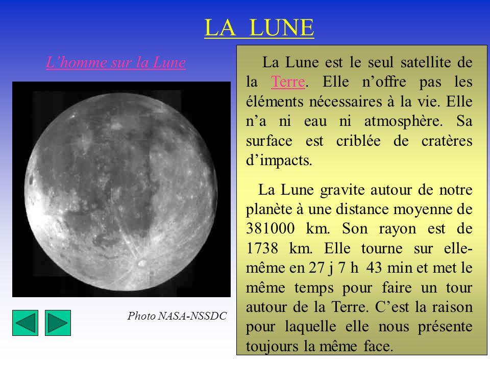 LA LUNE La Lune est le seul satellite de la Terre. Elle noffre pas les éléments nécessaires à la vie. Elle na ni eau ni atmosphère. Sa surface est cri
