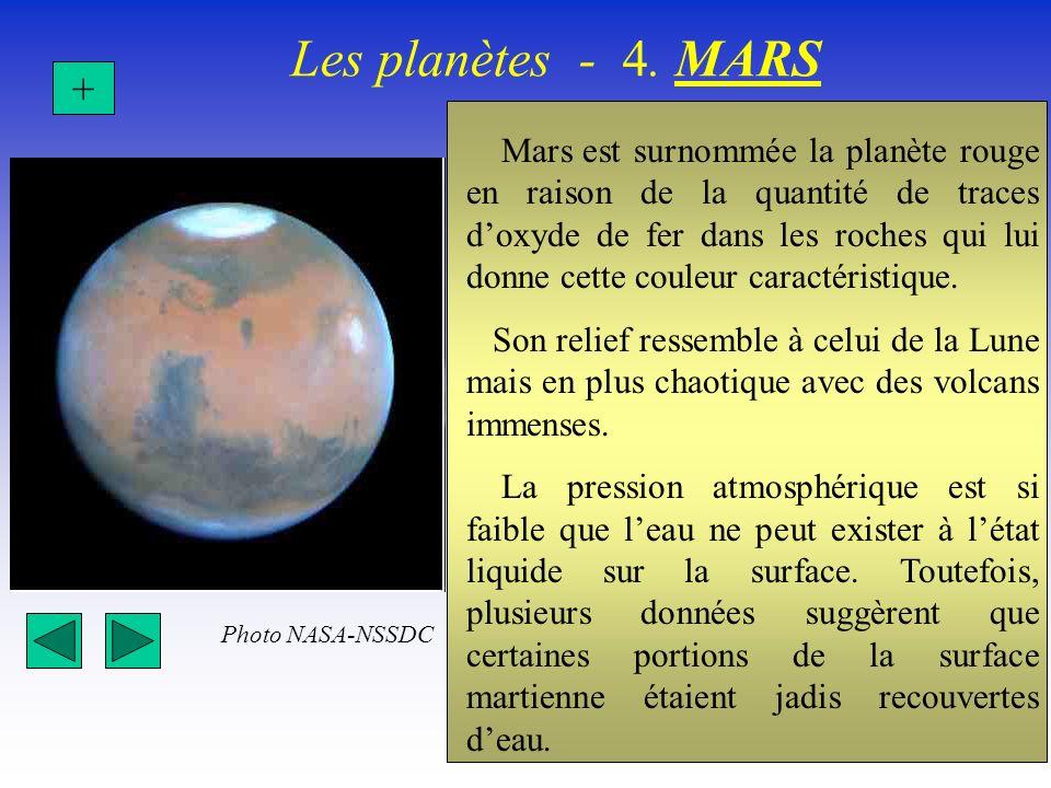 Les planètes - 4. MARS + Mars est surnommée la planète rouge en raison de la quantité de traces doxyde de fer dans les roches qui lui donne cette coul