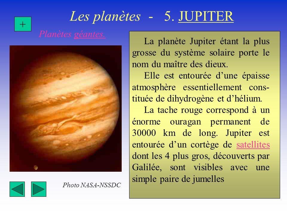 Les planètes - 5. JUPITER La planète Jupiter étant la plus grosse du système solaire porte le nom du maître des dieux. Elle est entourée dune épaisse