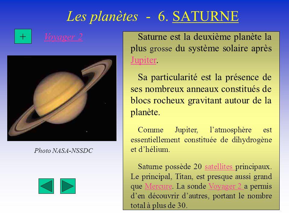 Les planètes - 6. SATURNE Saturne est la deuxième planète la plus grosse du système solaire après Jupiter. Jupiter Sa particularité est la présence de