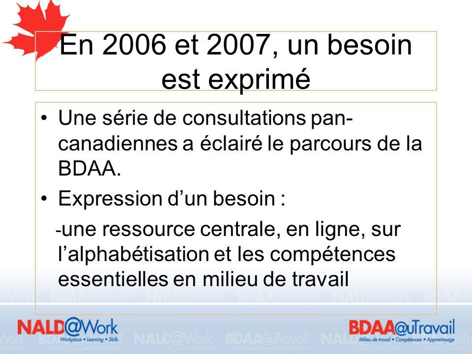 5 La solution de la BDAA Depuis novembre 2007, BDAA inclut maintenant le milieu de travail.