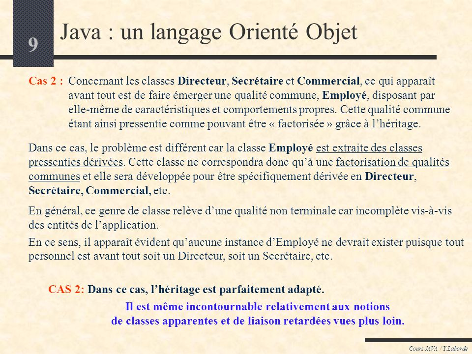 9 Cours JAVA / Y.Laborde Java : un langage Orienté Objet Cas 2 :Concernant les classes Directeur, Secrétaire et Commercial, ce qui apparaît avant tout est de faire émerger une qualité commune, Employé, disposant par elle-même de caractéristiques et comportements propres.