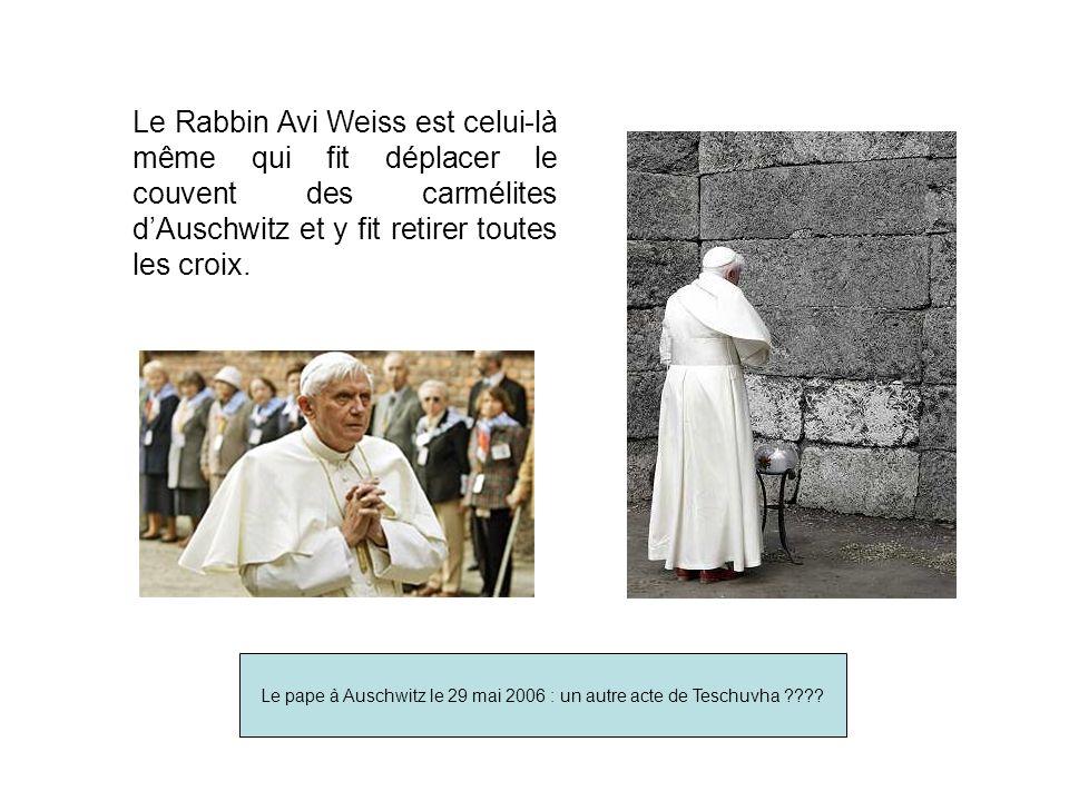 Le Rabbin Avi Weiss est celui-là même qui fit déplacer le couvent des carmélites dAuschwitz et y fit retirer toutes les croix.