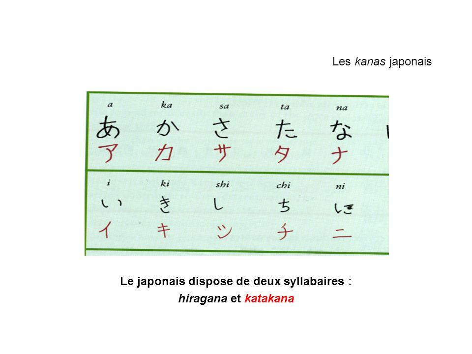 Les kanas japonais Le japonais dispose de deux syllabaires : hiragana et katakana