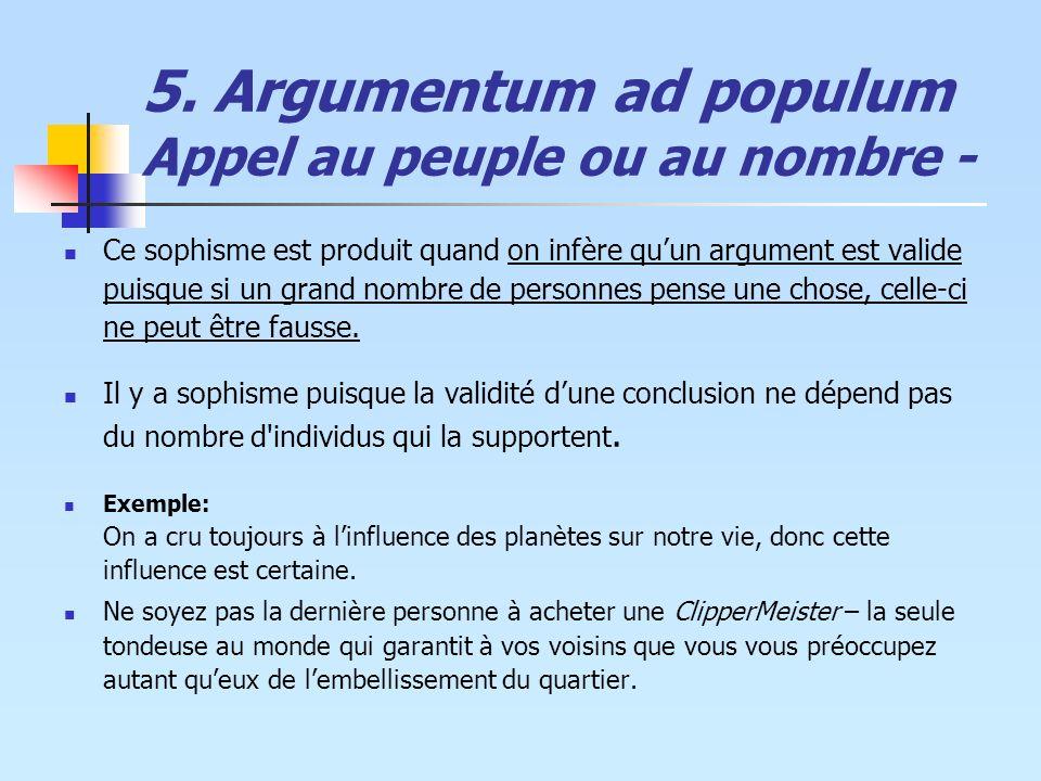 5. Argumentum ad populum Appel au peuple ou au nombre - Ce sophisme est produit quand on infère quun argument est valide puisque si un grand nombre de