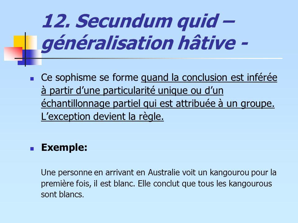 12. Secundum quid – généralisation hâtive - Ce sophisme se forme quand la conclusion est inférée à partir dune particularité unique ou dun échantillon