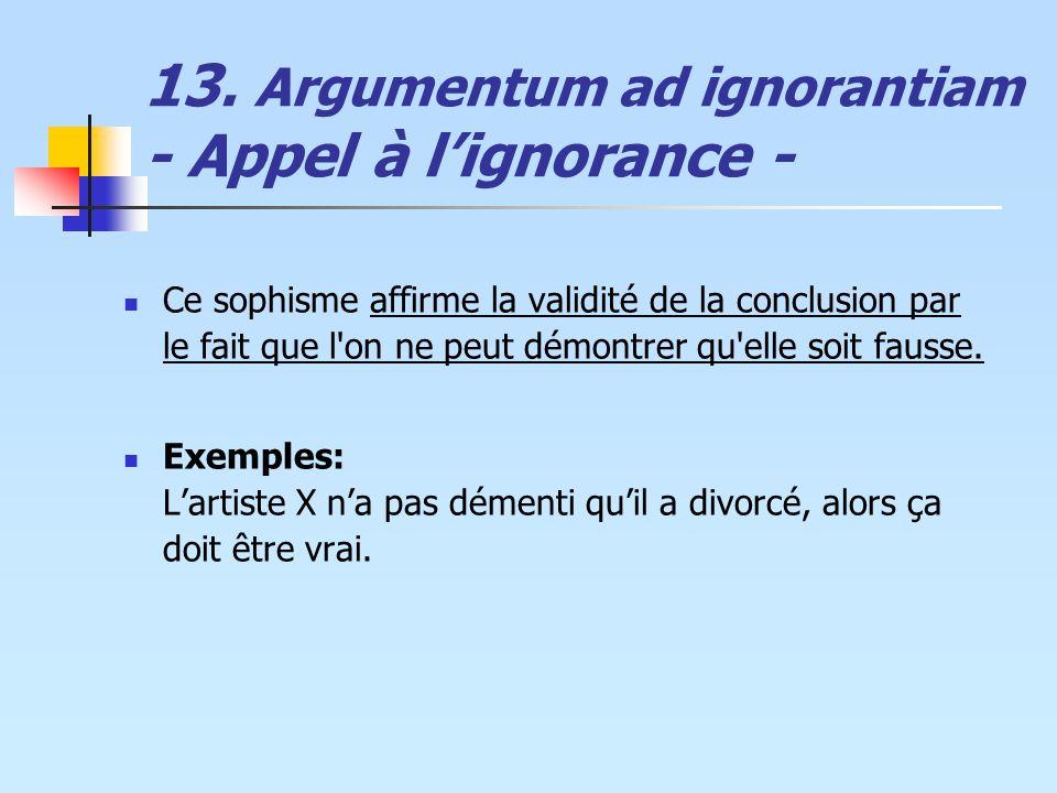 13. Argumentum ad ignorantiam - Appel à lignorance - Ce sophisme affirme la validité de la conclusion par le fait que l'on ne peut démontrer qu'elle s