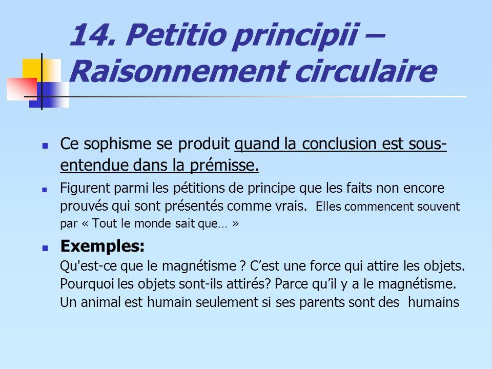14. Petitio principii – Raisonnement circulaire Ce sophisme se produit quand la conclusion est sous- entendue dans la prémisse. Figurent parmi les pét