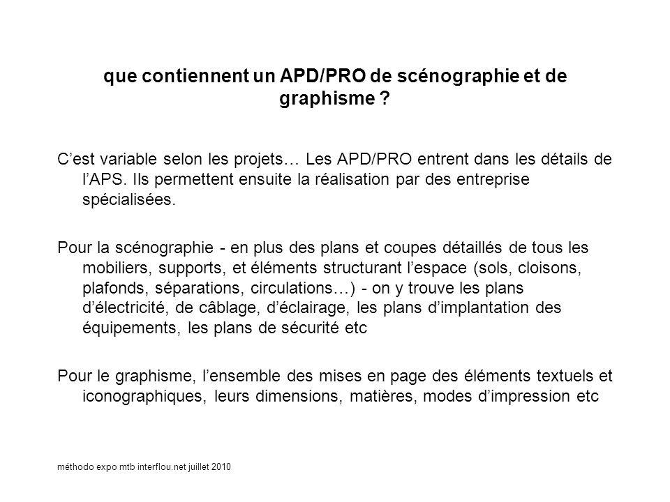 méthodo expo mtb interflou.net juillet 2010 que contiennent un APD/PRO de scénographie et de graphisme ? Cest variable selon les projets… Les APD/PRO