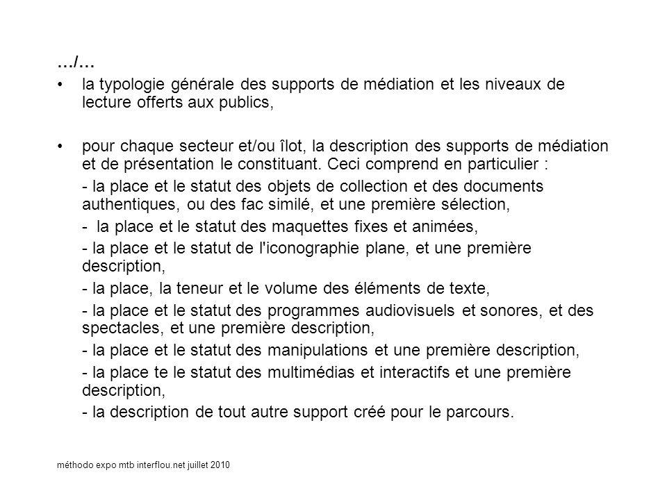 méthodo expo mtb interflou.net juillet 2010 …/… la typologie générale des supports de médiation et les niveaux de lecture offerts aux publics, pour ch