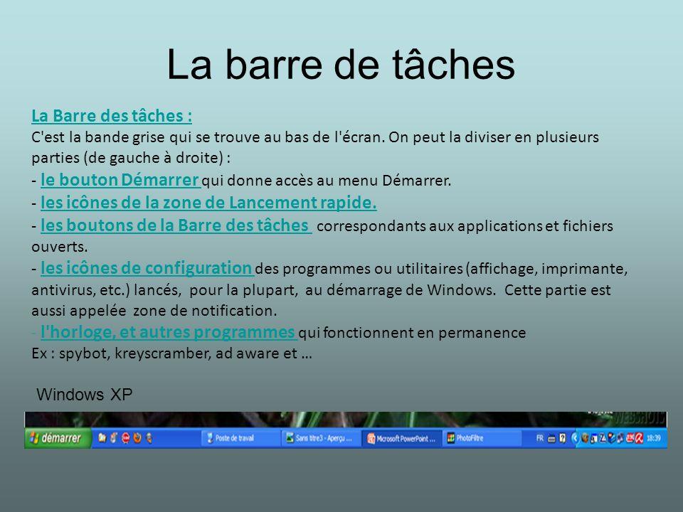 La barre de tâches La Barre des tâches : C'est la bande grise qui se trouve au bas de l'écran. On peut la diviser en plusieurs parties (de gauche à dr