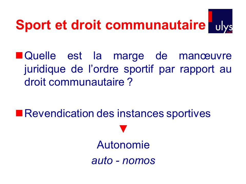 Sport et droit communautaire Quelle est la marge de manœuvre juridique de lordre sportif par rapport au droit communautaire ? Revendication des instan