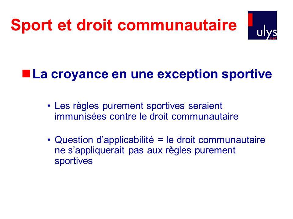 Sport et droit communautaire La croyance en une exception sportive Les règles purement sportives seraient immunisées contre le droit communautaire Que