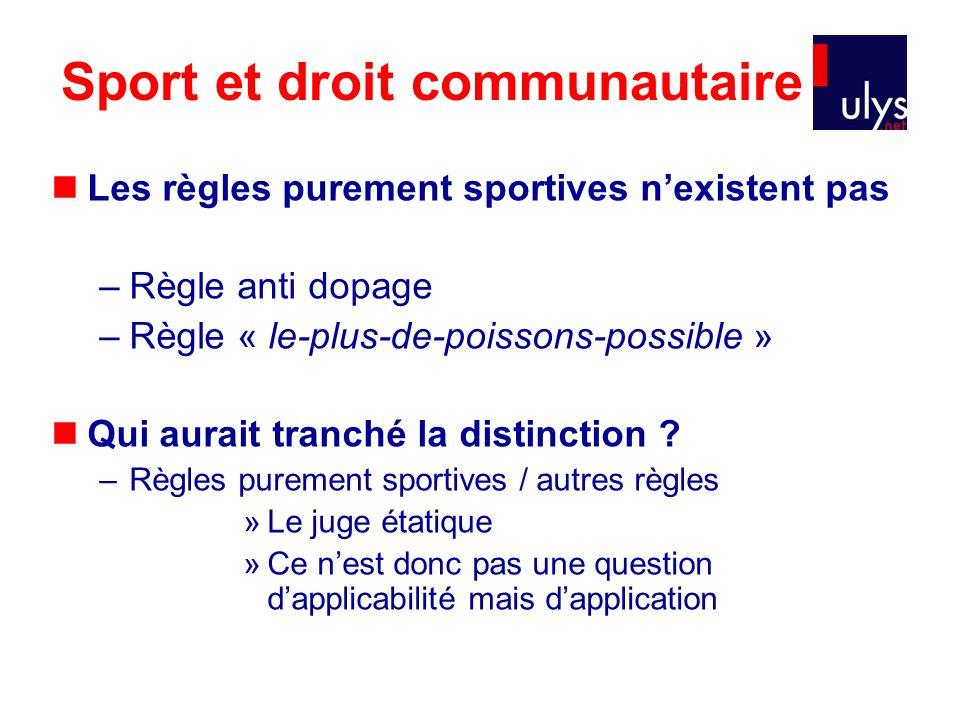 Sport et droit communautaire Les règles purement sportives nexistent pas –Règle anti dopage –Règle « le-plus-de-poissons-possible » Qui aurait tranché