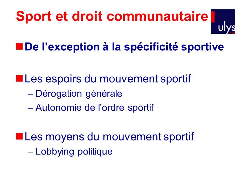 Sport et droit communautaire De lexception à la spécificité sportive Les espoirs du mouvement sportif –Dérogation générale –Autonomie de lordre sporti
