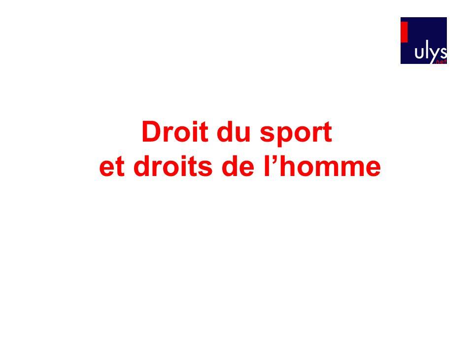Droit du sport et droits de lhomme