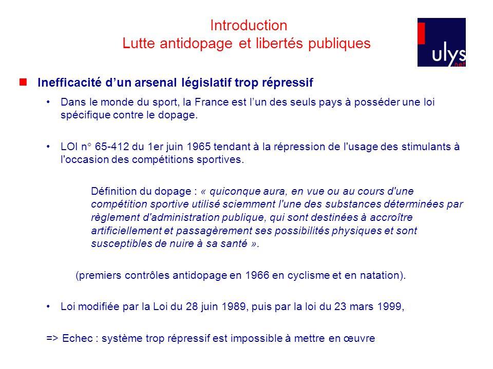 Introduction Lutte antidopage et libertés publiques Inefficacité dun arsenal législatif trop répressif Dans le monde du sport, la France est lun des s