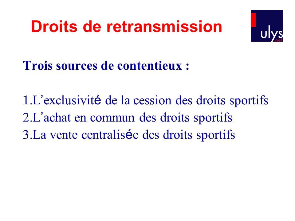 Trois sources de contentieux : 1.L exclusivit é de la cession des droits sportifs 2.L achat en commun des droits sportifs 3.La vente centralis é e des