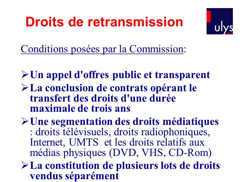 Conditions posées par la Commission: Un appel d'offres public et transparent La conclusion de contrats opérant le transfert des droits d'une durée max