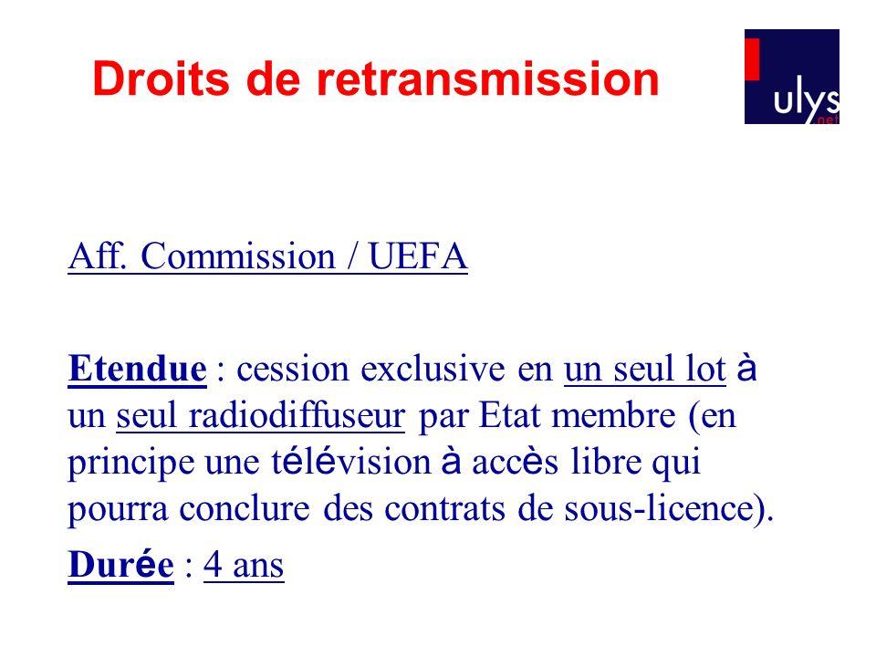 Aff. Commission / UEFA Etendue : cession exclusive en un seul lot à un seul radiodiffuseur par Etat membre (en principe une t é l é vision à acc è s l