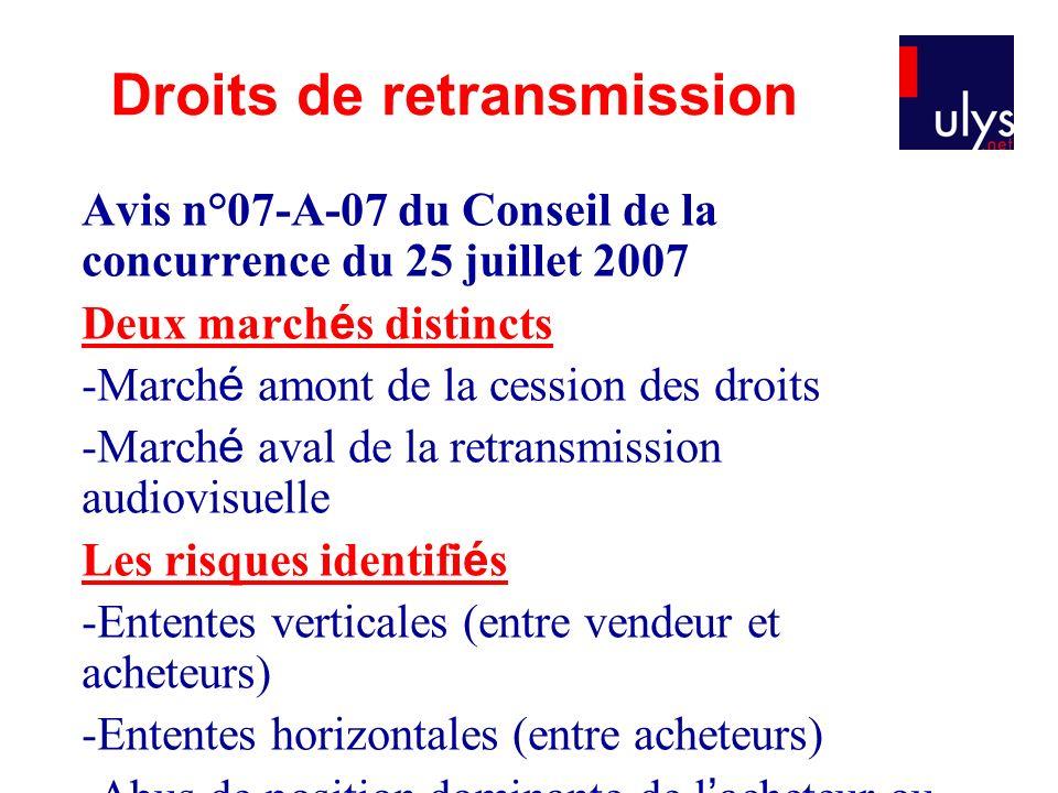 Avis n°07-A-07 du Conseil de la concurrence du 25 juillet 2007 Deux march é s distincts -March é amont de la cession des droits -March é aval de la re