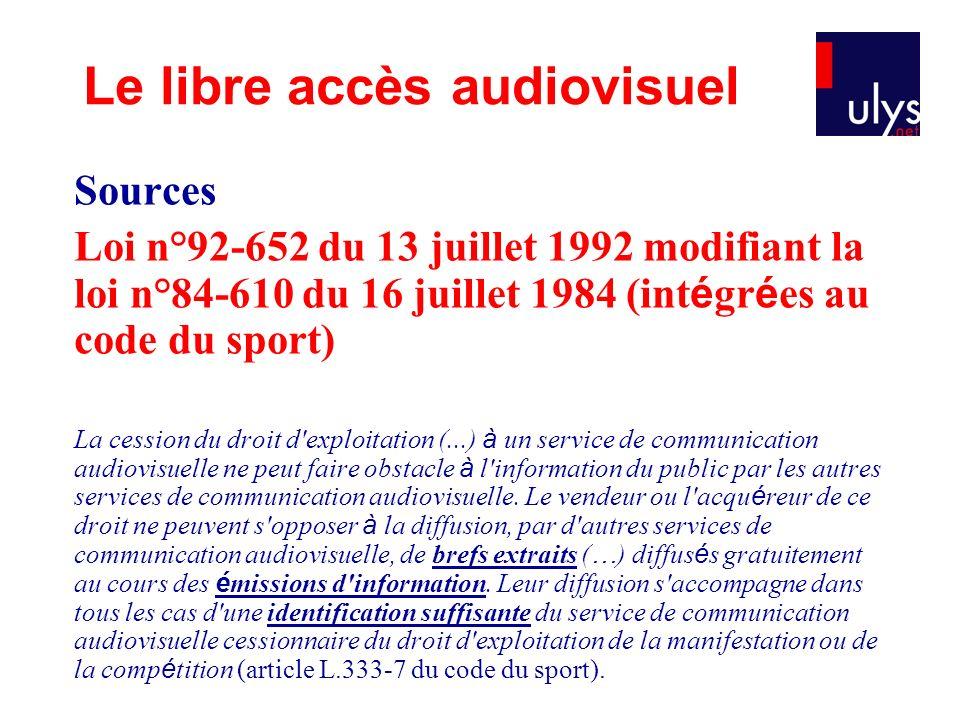Sources Loi n°92-652 du 13 juillet 1992 modifiant la loi n°84-610 du 16 juillet 1984 (int é gr é es au code du sport) La cession du droit d'exploitati