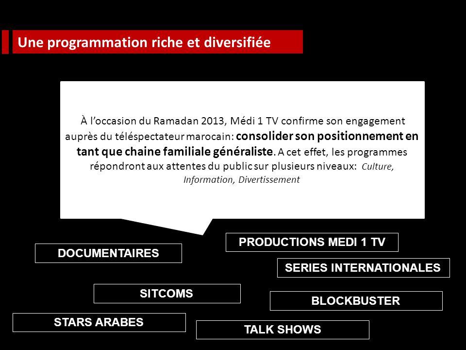 Une programmation riche et diversifiée À loccasion du Ramadan 2013, Médi 1 TV confirme son engagement auprès du téléspectateur marocain: consolider son positionnement en tant que chaine familiale généraliste.