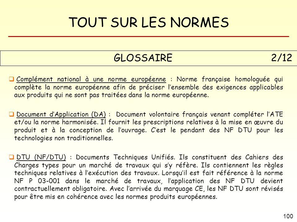 TOUT SUR LES NORMES 100 GLOSSAIRE 2/12 Complément national à une norme européenne : Norme française homologuée qui complète la norme européenne afin d