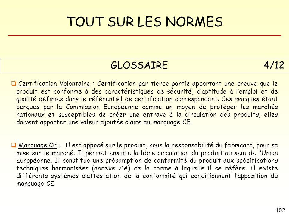 TOUT SUR LES NORMES 102 GLOSSAIRE 4/12 Certification Volontaire : Certification par tierce partie apportant une preuve que le produit est conforme à d