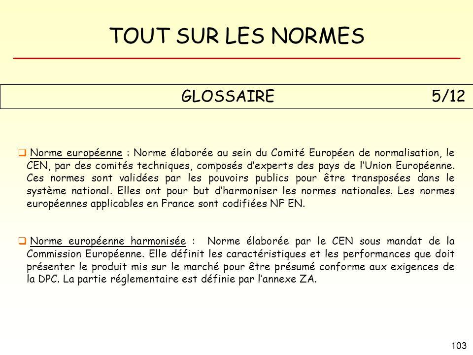 TOUT SUR LES NORMES 103 GLOSSAIRE 5/12 Norme européenne : Norme élaborée au sein du Comité Européen de normalisation, le CEN, par des comités techniqu