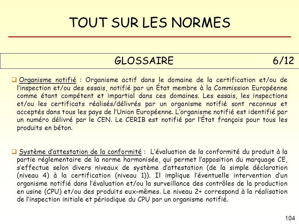 TOUT SUR LES NORMES 104 GLOSSAIRE 6/12 Organisme notifié : Organisme actif dans le domaine de la certification et/ou de linspection et/ou des essais,