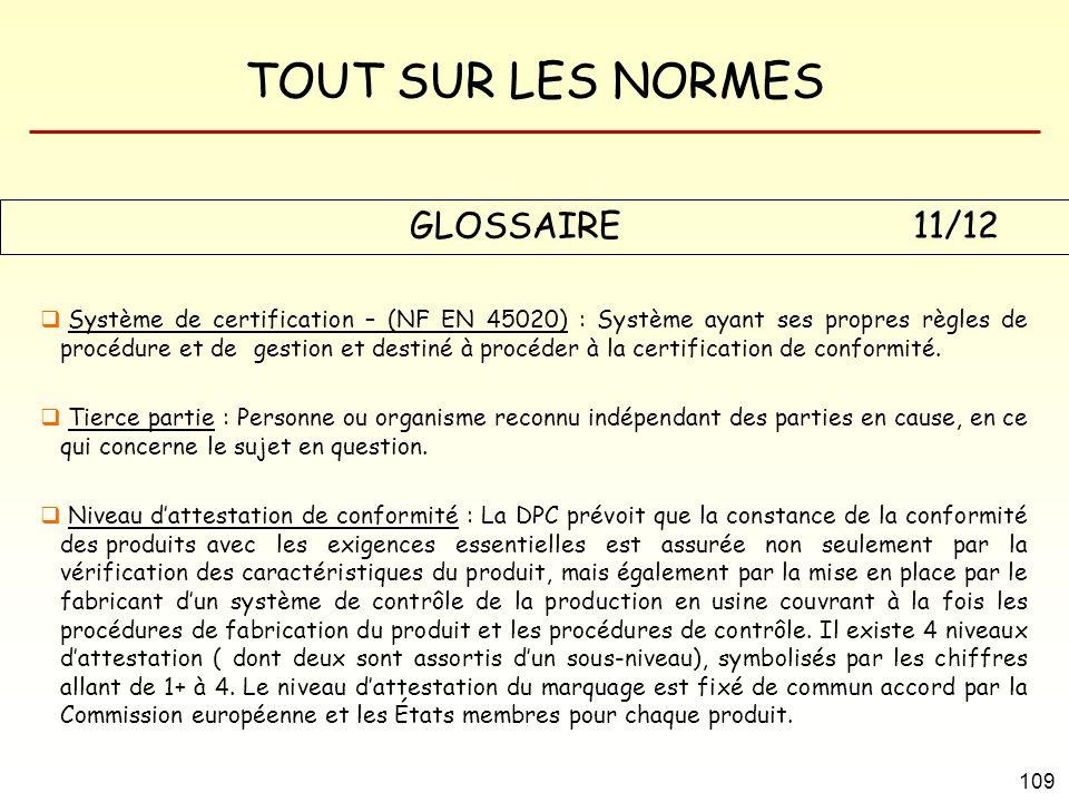 TOUT SUR LES NORMES 109 GLOSSAIRE 11/12 Système de certification – (NF EN 45020) : Système ayant ses propres règles de procédure et de gestion et dest