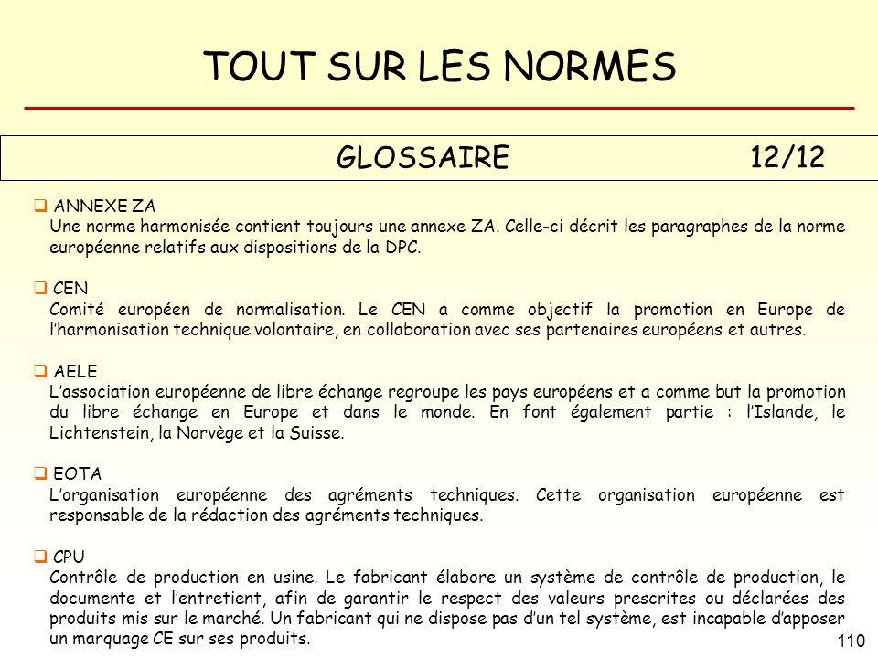TOUT SUR LES NORMES 110 GLOSSAIRE 12/12 ANNEXE ZA Une norme harmonisée contient toujours une annexe ZA. Celle-ci décrit les paragraphes de la norme eu